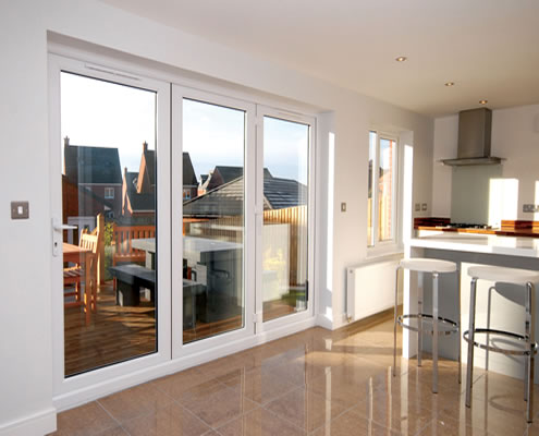 UPVC bifold doors in kitchen