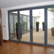 Grey aluminium internal bifold door