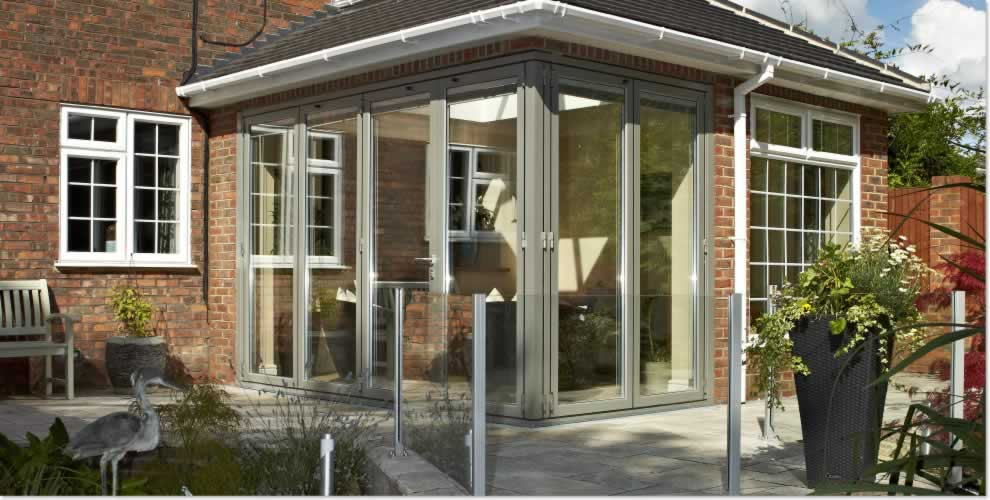 Corner bifold doors closed