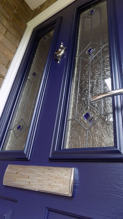 Blue composite door close up