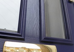 Close up of blue composite front door
