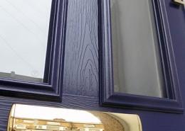 Close up of blue composite front door