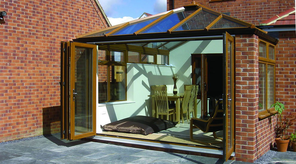 Wood effect conservatory installation