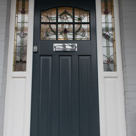 Grey timber front door