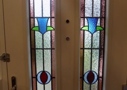 Internal view of composite door with stained glass