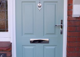 Blue composite door installation