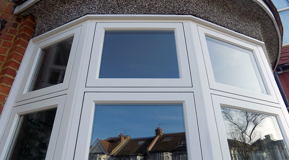 White casement timber windows exterior