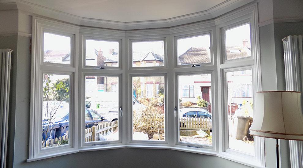 White casement timber windows interior