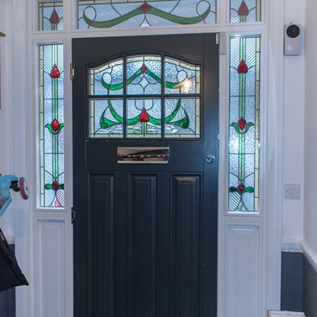 Interior of timber front door
