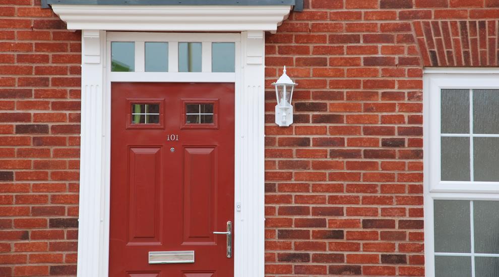Red timber front door