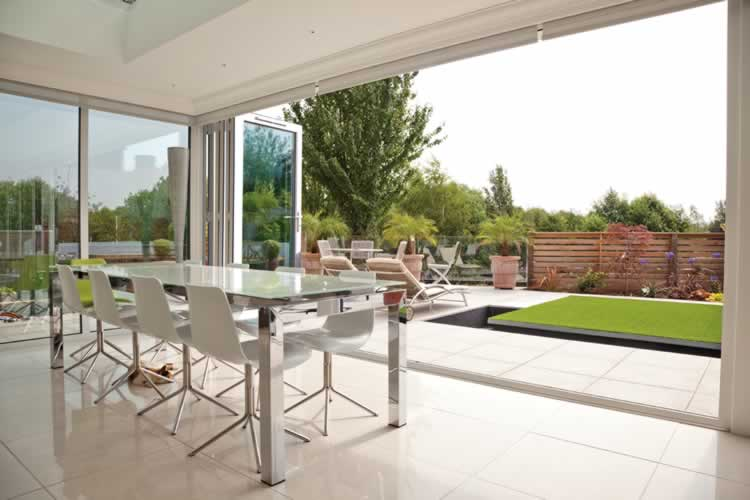 Aluminium Fold Doors White Island Kitchen
