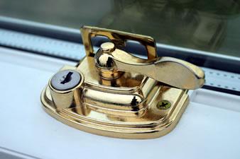 Brass sash window lock