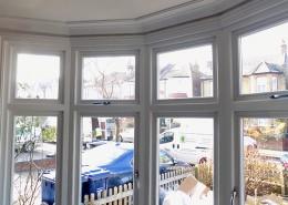 Interior of white casement window installation
