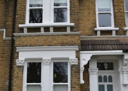 White timber sash window installation london