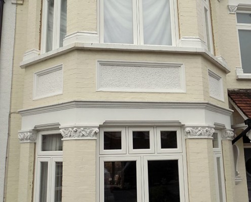 White wooden windows installation
