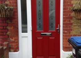 Red wooden front door