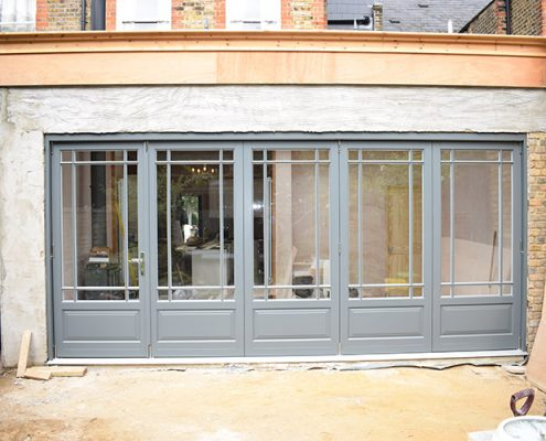 Timber bifold doors in grey