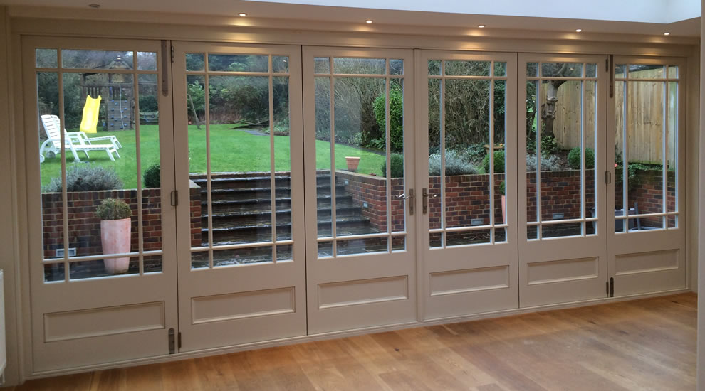 wood bifold installation interior