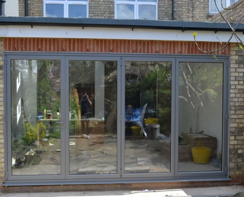 Grey bofold doors installation