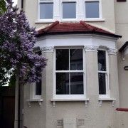 White UPVC sash bay window
