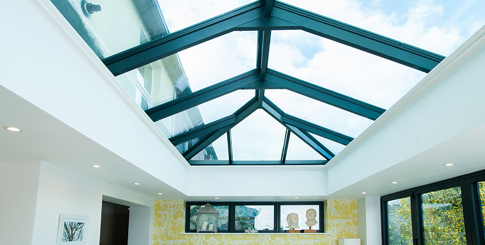 Black framed skylight interior view
