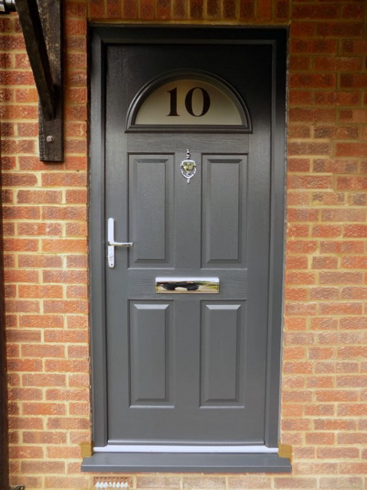 New grey composite door installation