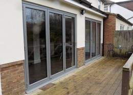 Metallic silver bifold doors closed