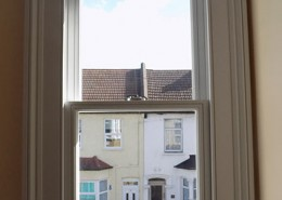Interior of sash timber window