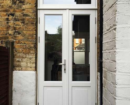 Timber french door in white