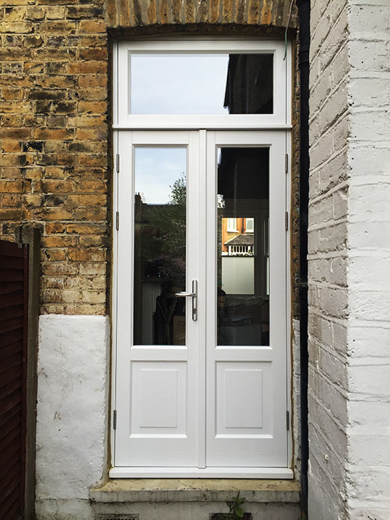 Timber sash window installation in london for French doors without windows