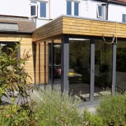 Grey corner bifold door installation