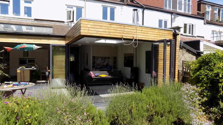 ... Corner bifold doors open & Corner bifold door installation in Muswell Hill north London
