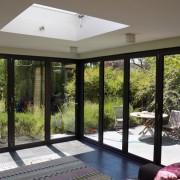 Interior of closed bifold doors