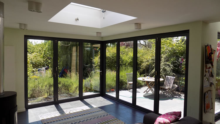 Grey corner bifold door installation Interior of closed bifold doors ... & Corner bifold door installation in Muswell Hill north London
