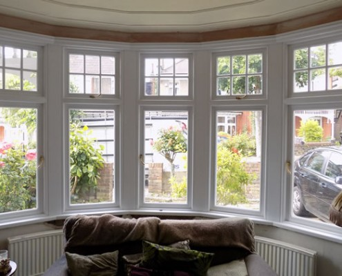 Internal view of white timber bay window