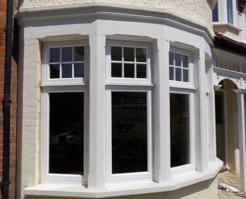 White timber bay window closeup