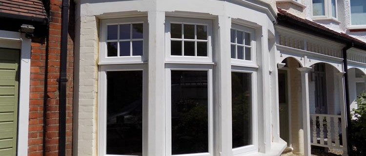 White timber bay window closeup