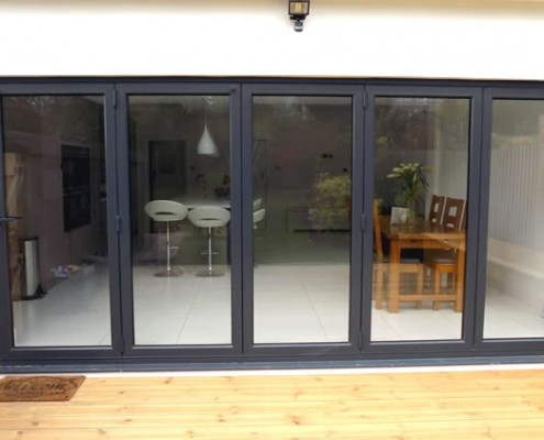Five part grey bifold doors
