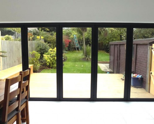 Interior view of grey bifold doors