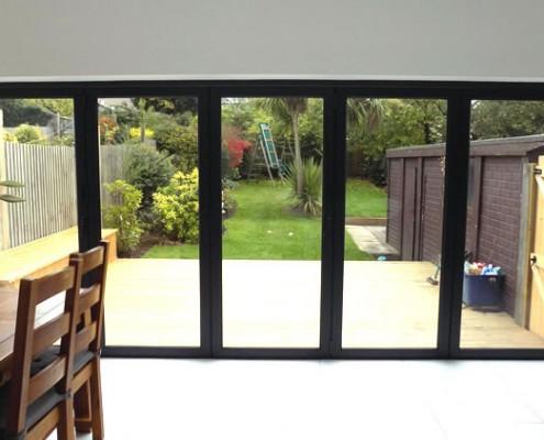 Interior view of grey bifold doors