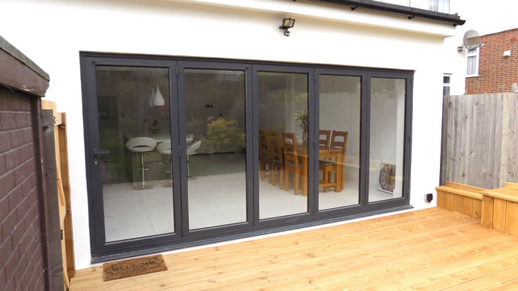 Exterior View Of Grey Bifold Doors Part 84