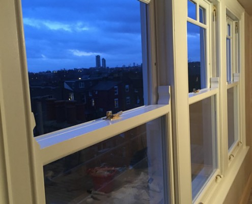 White timber sash windows interior