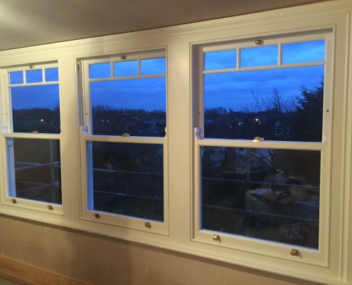 Three timber sash windows interior