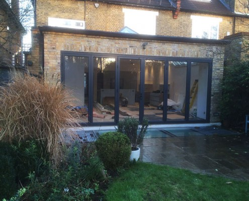 Grey bifold door installation