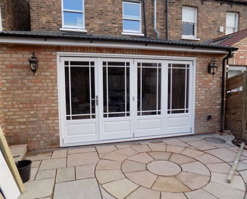 White timber bifolds