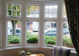 Interior of timber bay window