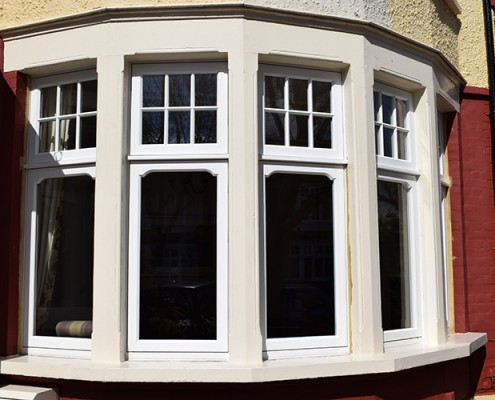 Timber bay window in white