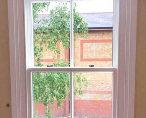 Timber sash window interior