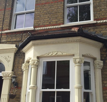 Timber sash window bay