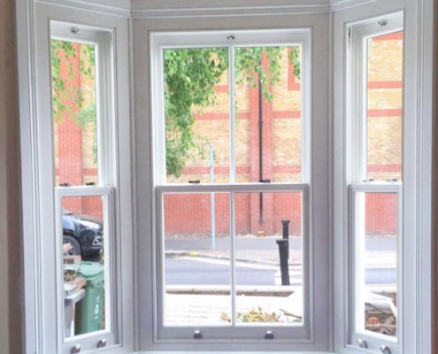 Timber sash bay window interior